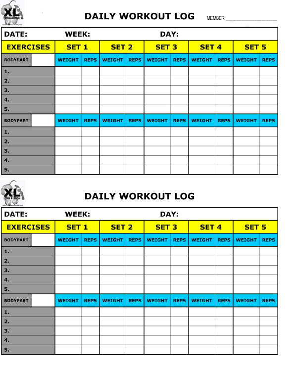 Printable Training Log  Xl Fitness And Lifestyle